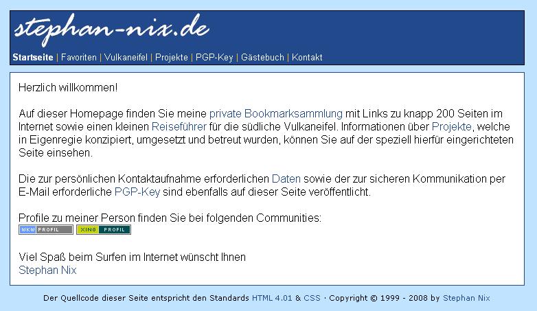 Screenshot aus dem Jahr 2008